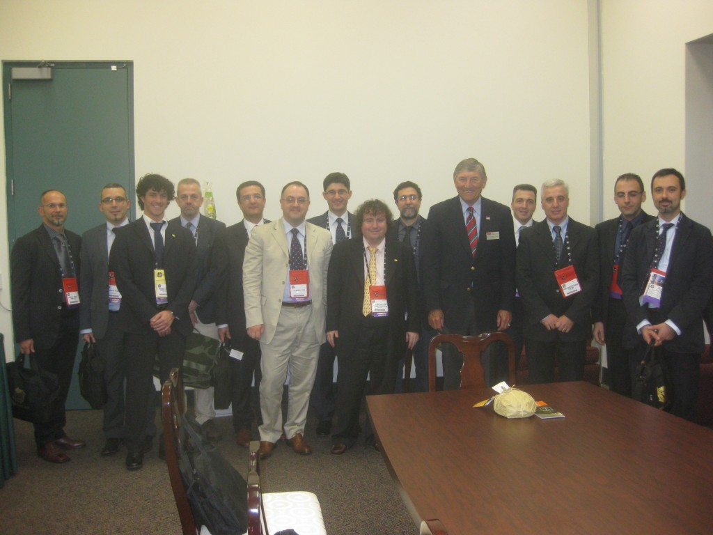 RADM Fred Lewis (ret) President NTSA, Prof. Agostino Bruzzone, Director MISS DIPTEM, and Italian Participants at I/ITSEC2009